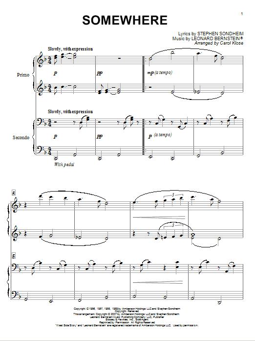 Partition piano Somewhere de Leonard Bernstein - 4 mains