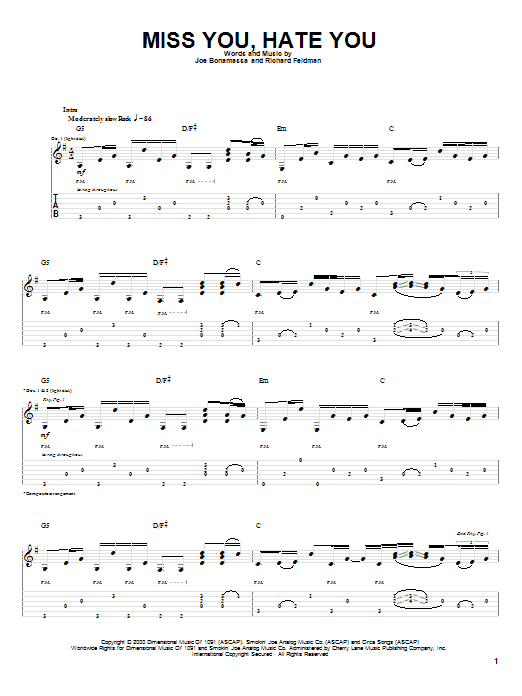 Miss You, Hate You sheet music for guitar solo (tablature) by Richard Feldman