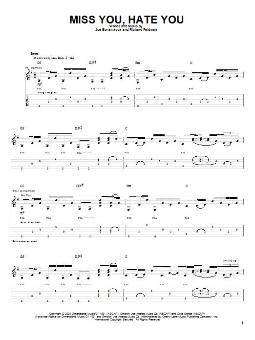 Tablature guitare Miss You, Hate You de Joe Bonamassa - Tablature Guitare
