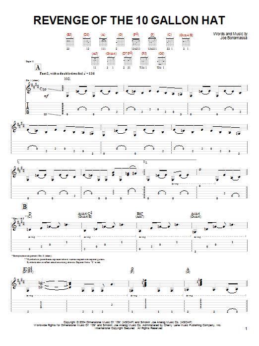 Tablature guitare Revenge Of The 10 Gallon Hat de Joe Bonamassa - Tablature Guitare