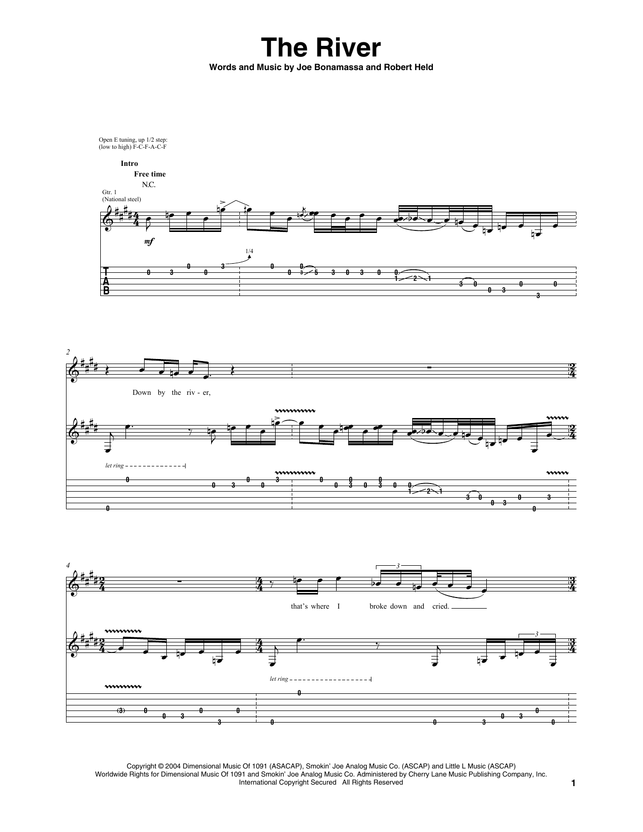 Tablature guitare The River de Joe Bonamassa - Tablature Guitare