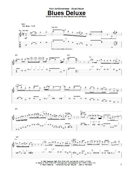 Tablature guitare Blues Deluxe de Joe Bonamassa - Tablature Guitare
