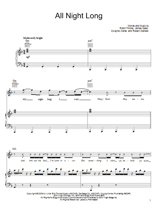 All Night Long sheet music for voice, piano or guitar by Robert Daniels