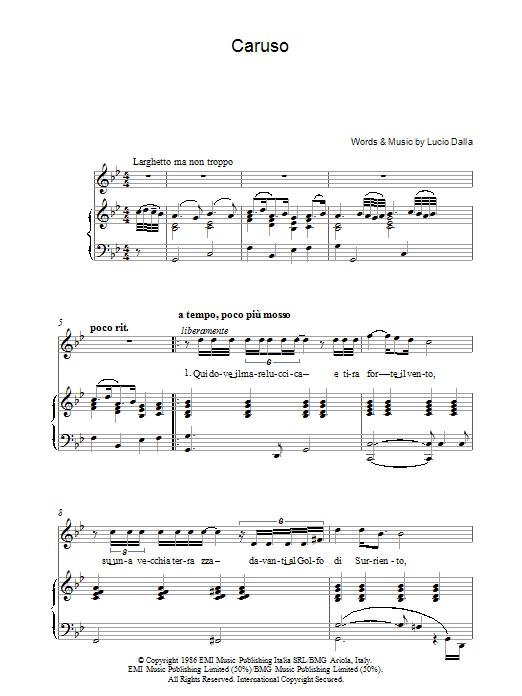 Caruso sheet music for voice, piano or guitar by Lucio Dalla