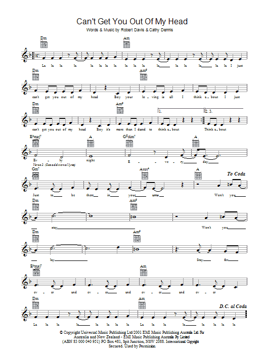 Can't Get You Out Of My Head sheet music for voice and other instruments (fake book) by Cathy Dennis