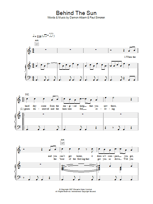 Behind The Sun sheet music for voice, piano or guitar by Damon Albarn