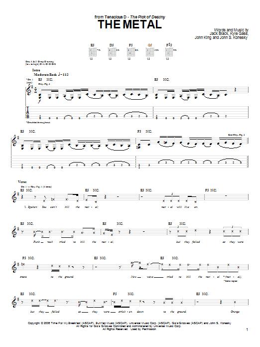 The Metal by Tenacious D - Guitar Tab - Guitar Instructor