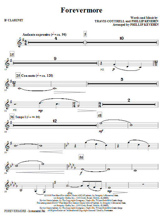 Forevermore - Bb Clarinet : Sheet Music Direct