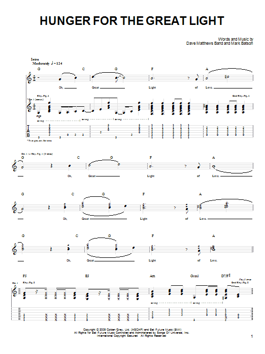 Tablature guitare Hunger For The Great Light de Dave Matthews Band - Tablature Guitare