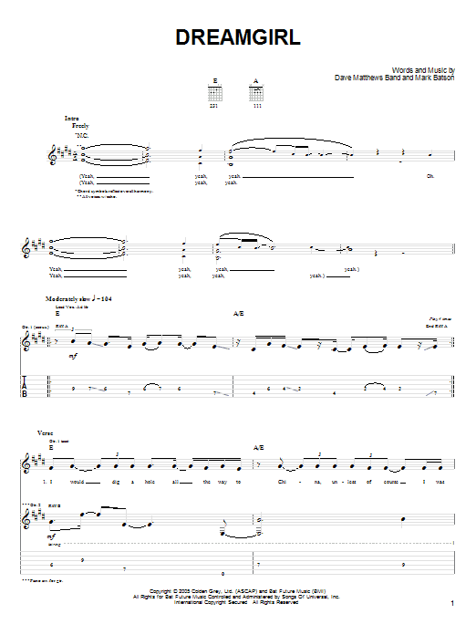 Tablature guitare Dreamgirl de Dave Matthews Band - Tablature Guitare