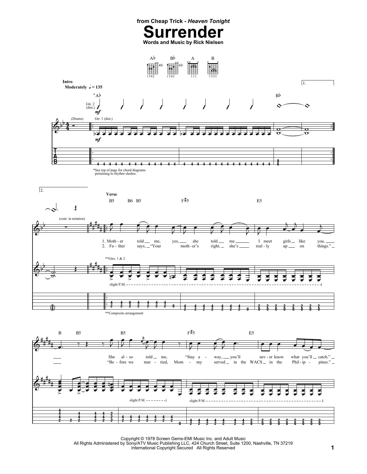 Tablature guitare Surrender de Cheap Trick - Tablature Guitare