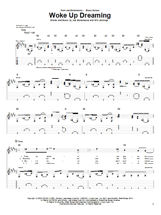 Tablature guitare Woke Up Dreaming de Joe Bonamassa - Tablature Guitare
