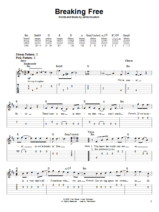 Tablature guitare Breaking Free (from High School Musical) de Vanessa Hudgens and Zac Efron - Tablature guitare facile