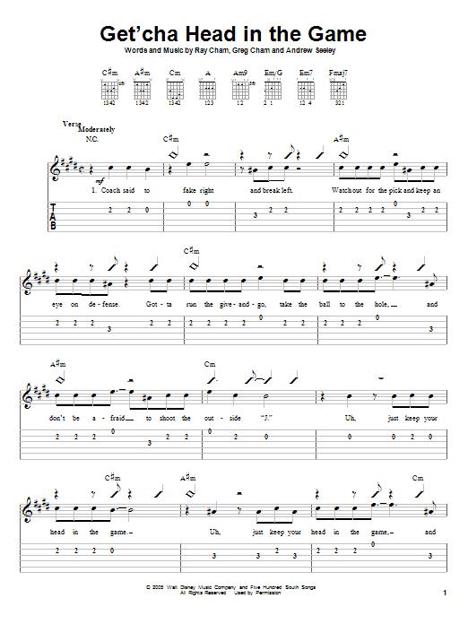 Tablature guitare Get'cha Head In The Game de High School Musical - Tablature guitare facile