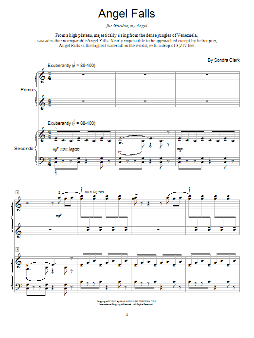 Angel Falls sheet music for piano four hands (duets) by Sondra Clark
