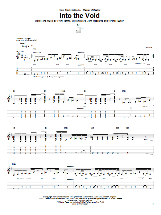 Tablature guitare Into The Void de Black Sabbath - Tablature Guitare