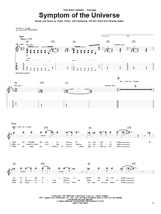 Tablature guitare Symptom Of The Universe de Black Sabbath - Tablature Guitare