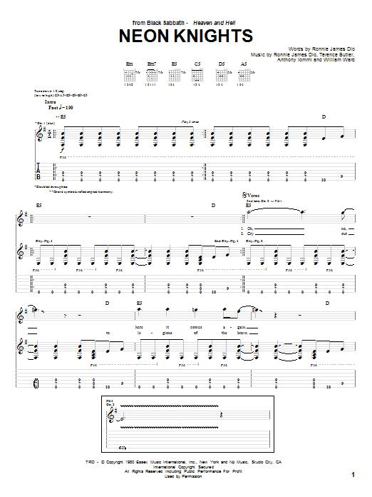 Tablature guitare Neon Knights de Black Sabbath - Tablature Guitare