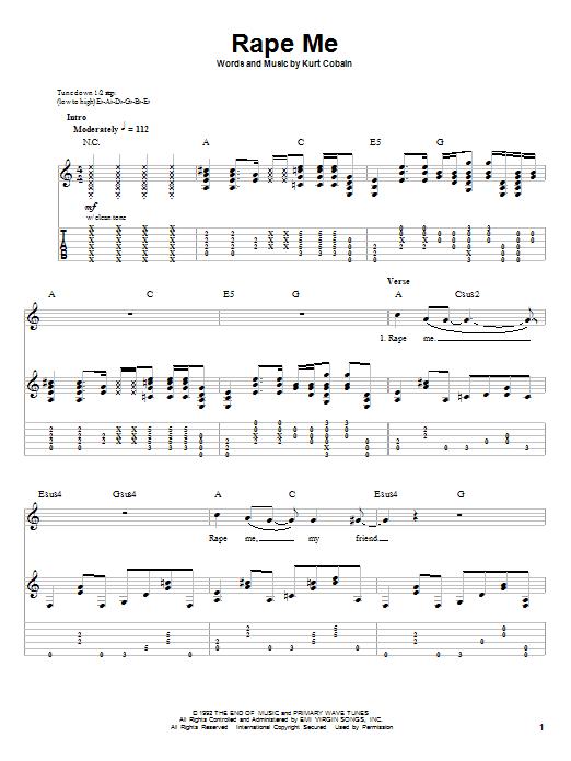 Sheet Music Digital Files To Print - Licensed Kurt Cobain Digital ...