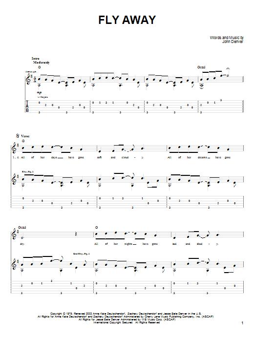 Tablature guitare Fly Away de John Denver - Tablature Guitare