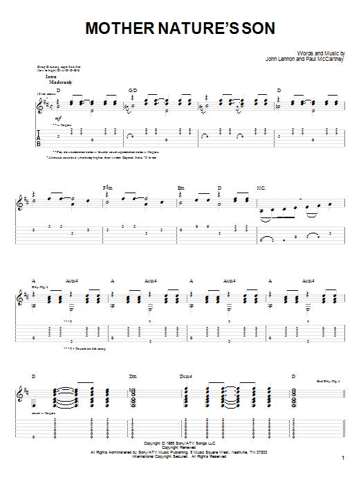 Mother Nature's Son Guitar Tab by John Denver (Guitar Tab ...