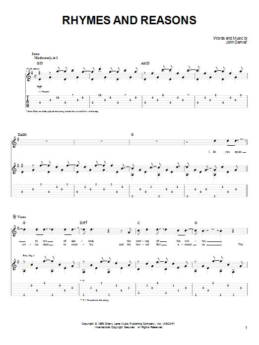 Tablature guitare Rhymes And Reasons de John Denver - Tablature Guitare