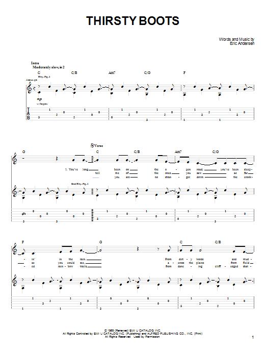 Tablature guitare Thirsty Boots de John Denver - Tablature Guitare
