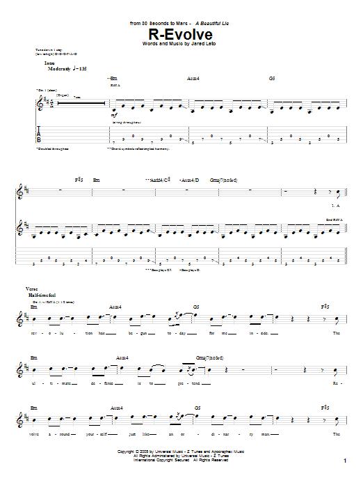 Tablature guitare R-Evolve de 30 Seconds To Mars - Tablature Guitare