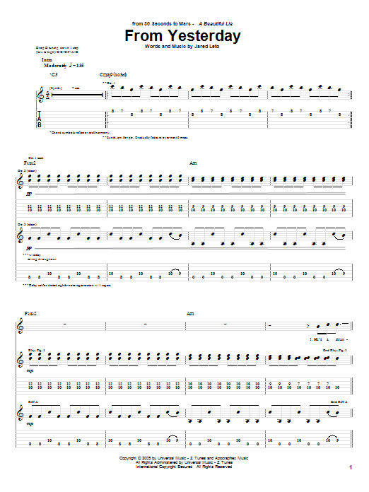 Tablature guitare From Yesterday de 30 Seconds To Mars - Tablature Guitare