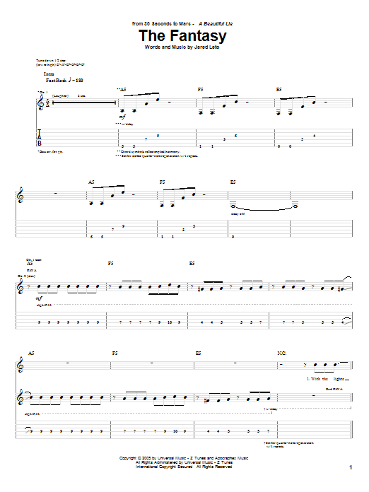 Tablature guitare The Fantasy de 30 Seconds To Mars - Tablature Guitare