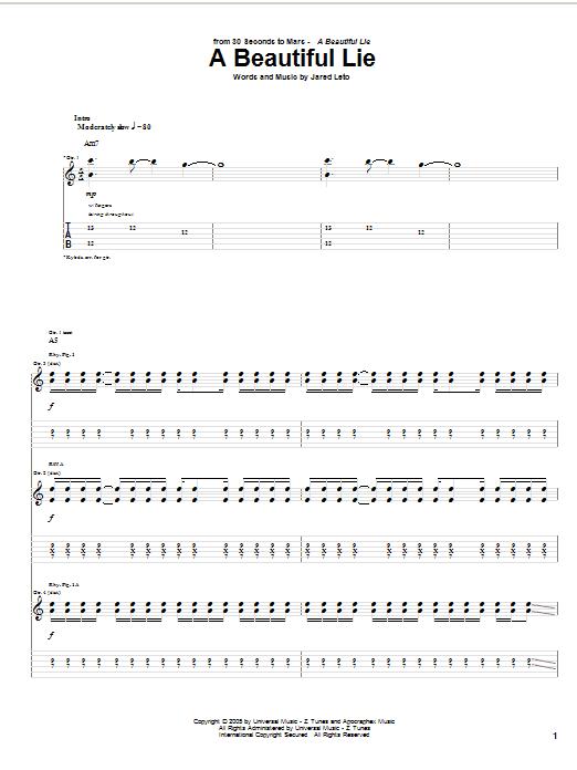 Tablature guitare A Beautiful Lie de 30 Seconds To Mars - Tablature Guitare