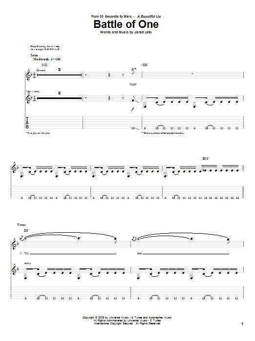 Tablature guitare Battle Of One de 30 Seconds To Mars - Tablature Guitare