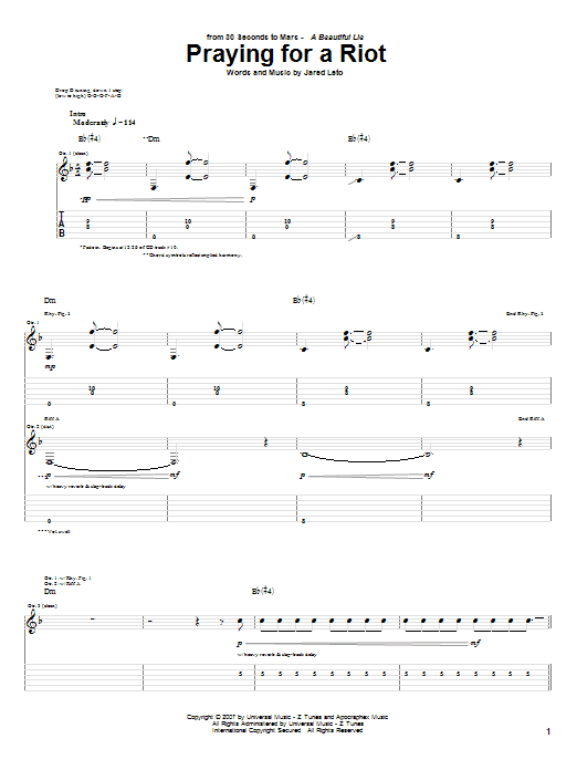 Praying For A Riot sheet music for guitar solo (tablature) by Jared Leto