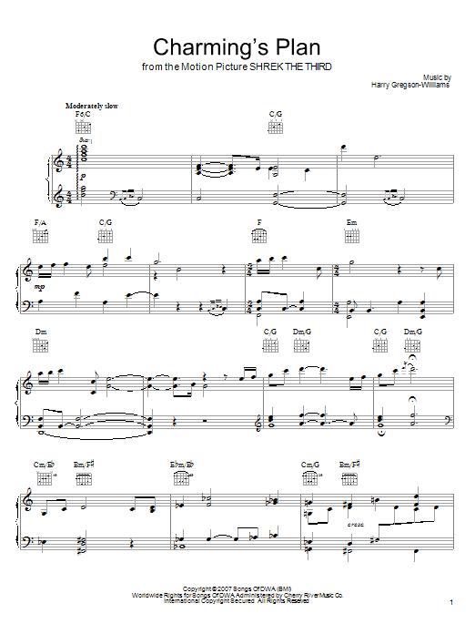 Partition piano Charming's Plan de Harry Gregson-Williams - Piano Voix Guitare (Mélodie Main Droite)
