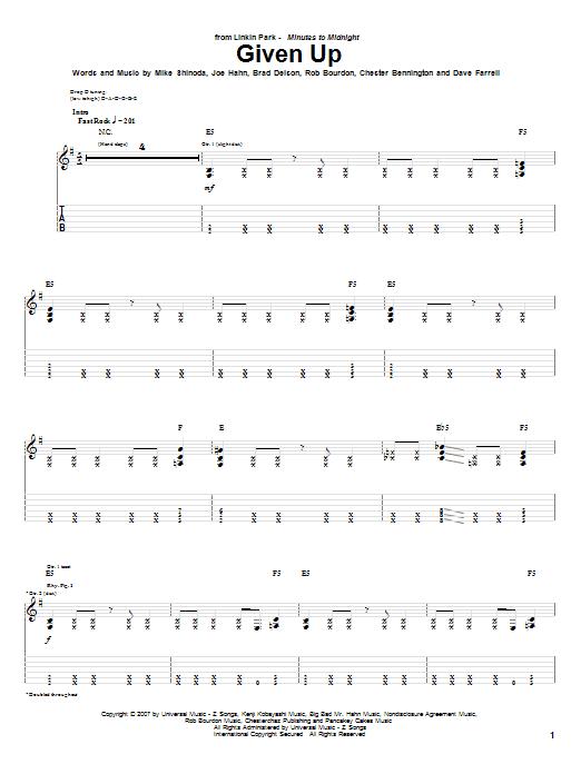 Tablature guitare Given Up de Linkin Park - Tablature Guitare