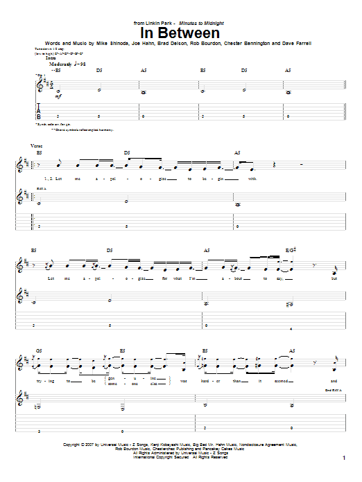 Tablature guitare In Between de Linkin Park - Tablature Guitare