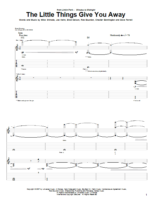 Tablature guitare The Little Things Give You Away de Linkin Park - Tablature Guitare
