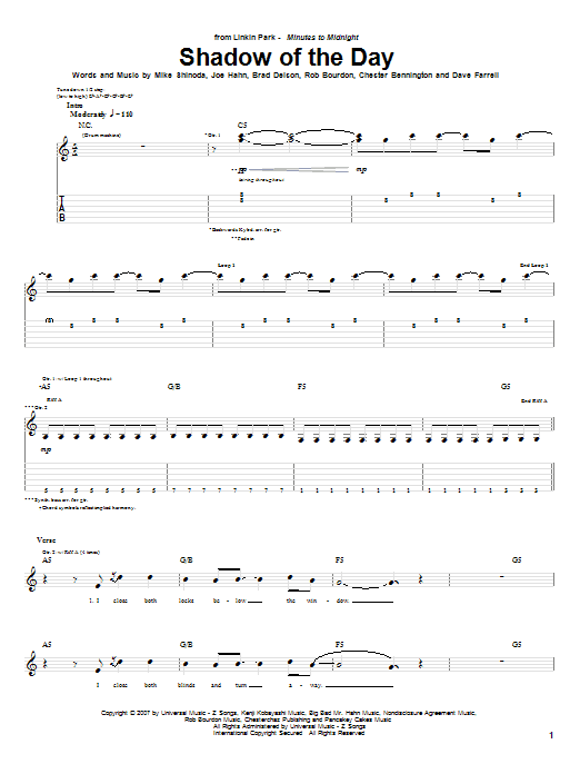 Tablature guitare Shadow Of The Day de Linkin Park - Tablature Guitare