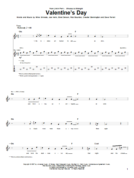 Tablature guitare Valentine's Day de Linkin Park - Tablature Guitare