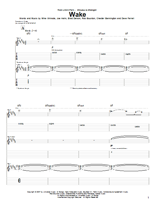 Tablature guitare Wake de Linkin Park - Tablature Guitare