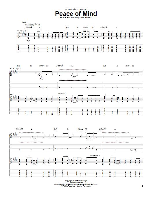 Tablature guitare Peace Of Mind de Boston - Tablature Guitare