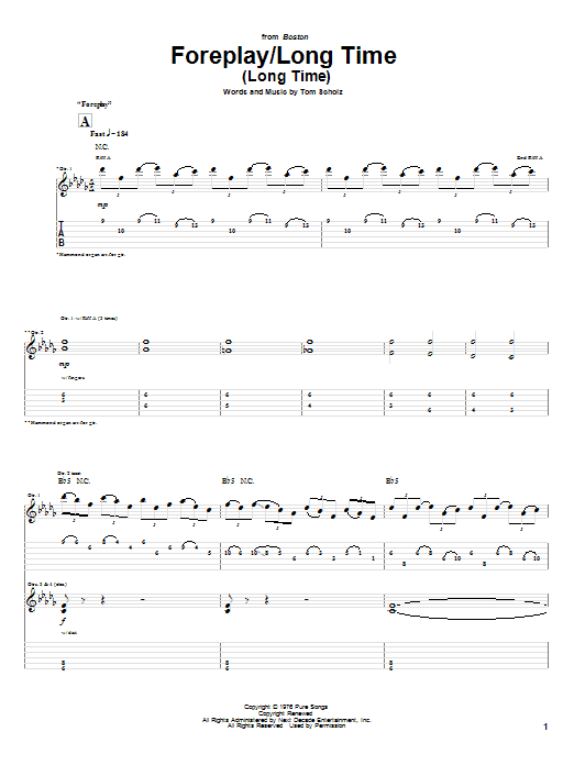 Tablature guitare Foreplay/Long Time (Long Time) de Boston - Tablature Guitare