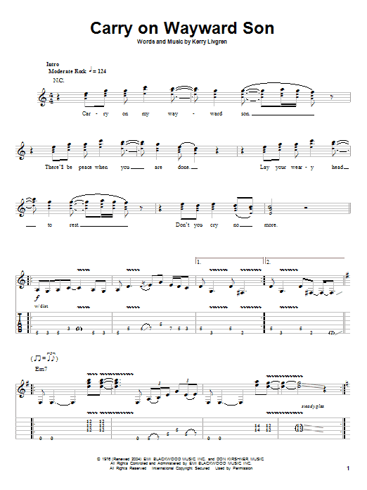 Dust in the wind guitar chords