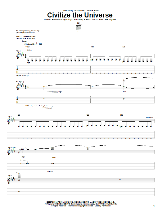Tablature guitare Civilize The Universe de Ozzy Osbourne - Tablature Guitare