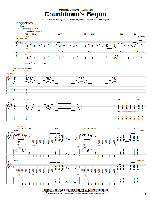 Tablature guitare Countdown's Begun de Ozzy Osbourne - Tablature Guitare