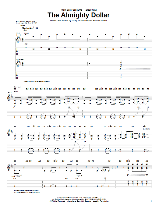 Tablature guitare The Almighty Dollar de Ozzy Osbourne - Tablature Guitare