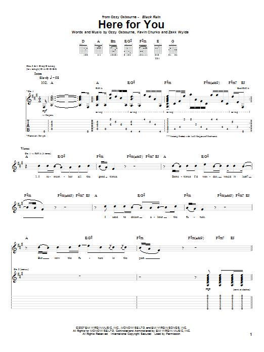 Tablature guitare Here For You de Ozzy Osbourne - Tablature Guitare