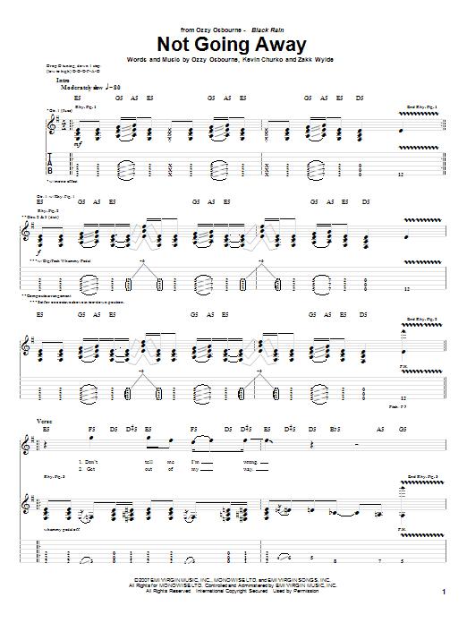Tablature guitare Not Going Away de Ozzy Osbourne - Tablature Guitare