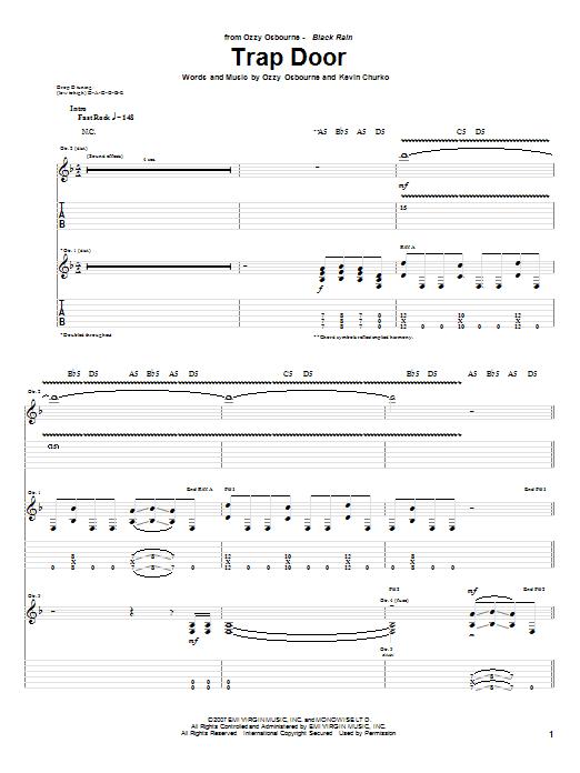 Tablature guitare Trap Door de Ozzy Osbourne - Tablature Guitare