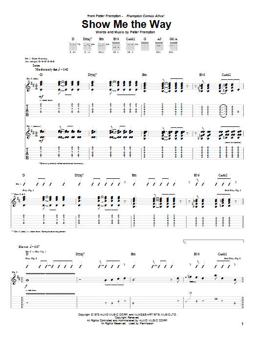 Tablature guitare Show Me The Way de Peter Frampton - Tablature Guitare